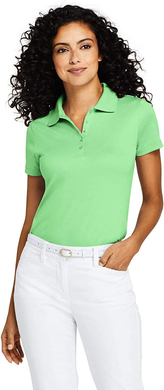 Lands' End Womens Short Sleeve Supima Polo Green Ash Petite Small