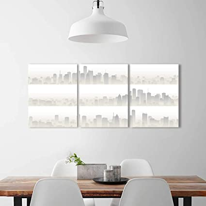 Philiphome 3 Panel Wall Art Set Frameless Horizontal Banners Big City Skyscrapers In Haze The