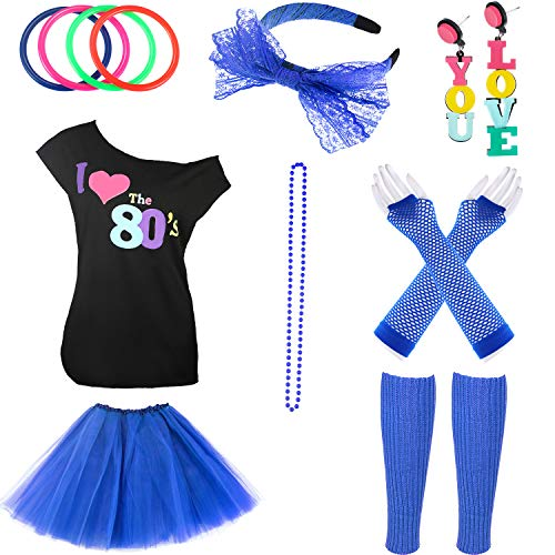 Jetec 80s Costume Accessories Set Necklace Bangle Leg Warmers Earrings Gloves Tutu Skirt T-Shirt for Party Accessory (S, Color Set 6) ()