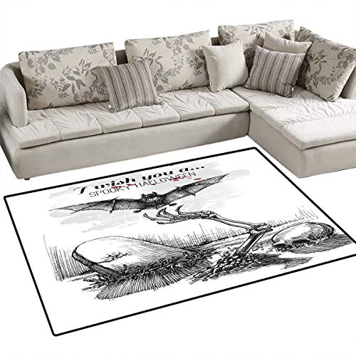 Halloween Area Rugs for Bedroom Dead Skull Skeleton Out of The Grave and Flying Bat Hand Drawn Spooky Picture Door Mats for Inside Non Slip Backing 48