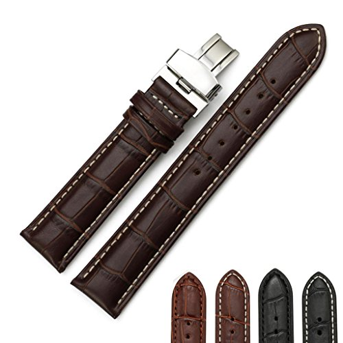 iStrap 24mm Calf Leather Strap Tan Stitched Replacement Watch Band Metal Deployant - Brown 24