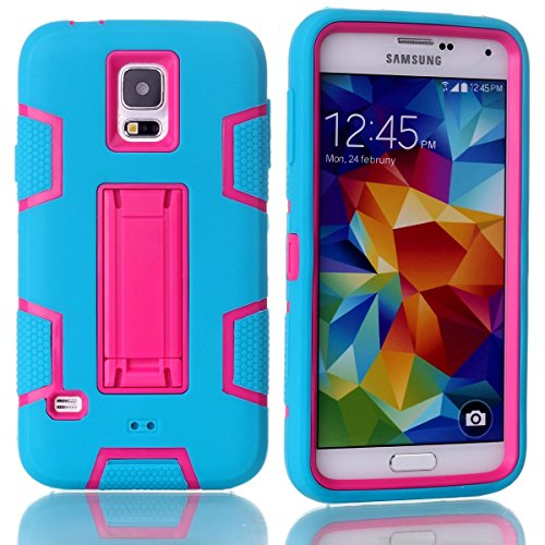 AICEDA Samsung Galaxy S5 i9600 Phone Case Protective design Cell Case Anti-Scratch Tough Case Slim Light Case Cover for Samsung Galaxy S5 i9600 (Blue + Hot Pink)