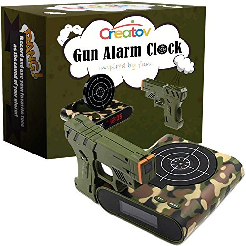 - Target Alarm Clock with Gun - Infrared Target and Realistic Loud Sound Effects Fun Pistol Game Clocks for Heavy Sleepers Kids Boys Girls Infrared 0.8 MW Camouflage by Createv