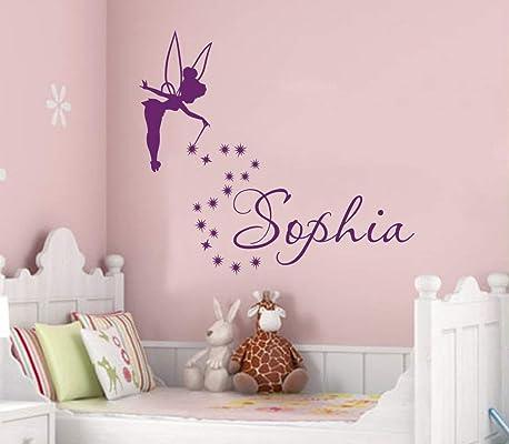 Wall Decal Girls Name Tinkerbell. Magic Little Princess Girl Wall Vinyl Sticker Nursery Personalized Name. Nursery Wall Decor Baby Girl F44