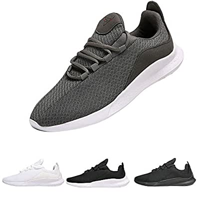 PAGBOJAS Men's Trail Running Shoes for Casual Athletic Gym Walking Tennis Sports Workout Fitness, Breathable Mesh Fashion Sneakers,Grey/Gray,Size 7