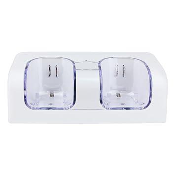 Prous LU01 Wii Cargador de Base de Carga Dual Wii Remote Cargador con Twin 2800mAh batería Recargable y LED indicador de luz para Nintendo Wii ...