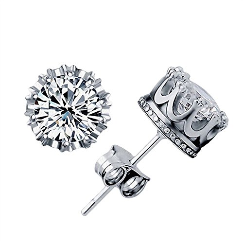 Alvade Shining Crown Earrings, Elegant Silver-Plated Stud Earrings Girl Jewelry Diamond Jewelry Ladies for Gift Silver Jewelry Graduation Gift by Alvade (Image #9)