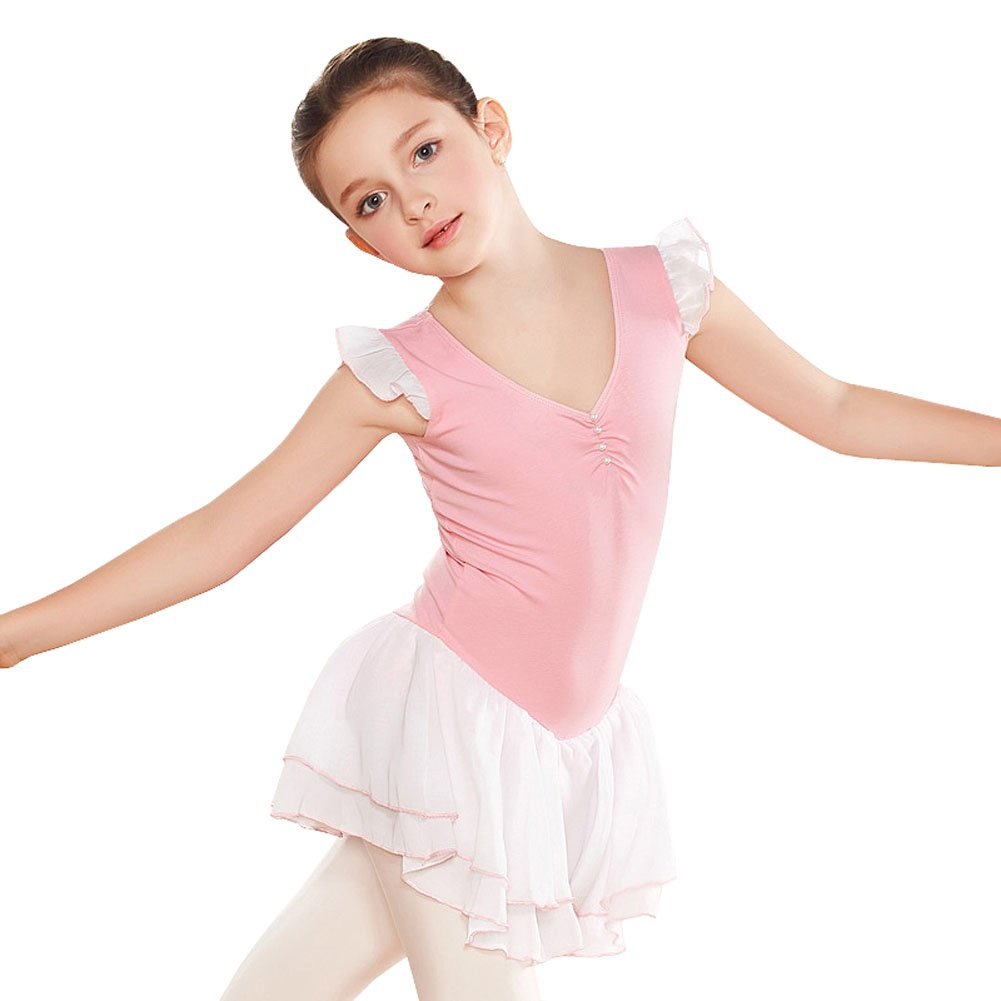 Lisianthus Girls Ruffle Ballet Gymnastics Leotard Dress