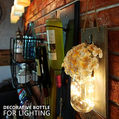 HAchoo Rustic Wall Sconces Mason Jar Decoration Handmade Wall Decor Hanging Design with LED Fairy Lights Living Decor,Farmhouse Kitchen Decorations Wall Home Decor Bathroom Set of 2…