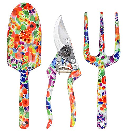 LOYLOV Garden Tool Set, 3 Piece Floral Aluminum Heavy Duty Gardening Kit with Ergonomic Design Handles Hanging Hole – Pruning Shears, Trowel, and Hand Fork, Gift for Mother Women(Red)