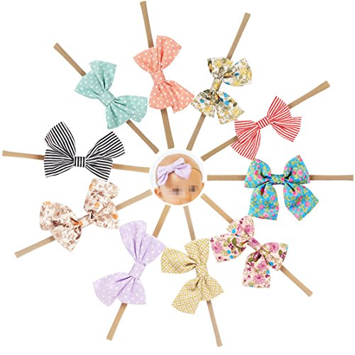 - Ncmama Fabric Hair Bows Nylon Elastic Baby Girls Headbands for Newborn Infant Toddler Hairband Pack of 10