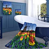 warmfamily Landscape Pattern towel set Tulip Blooms with Classic Dutch Windmill Netherlands Countryside Spring Picture Square scarf set Yellow Blue