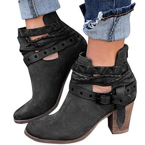 XMWEALTHY Women's Chunky Heels Boots Buckle Strap Block Heels Ankle Booties Black US 7.5 - Chunky Buckle