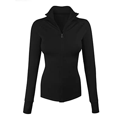 makeitmint Women's Comfy Zip up Stretchy Work Out Track Jacket w/Back Pocket