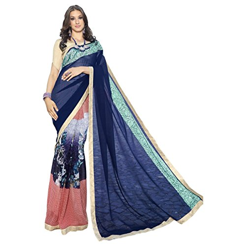 Faux Georgette (Triveni Women's Indian Multi-Coloured Faux Georgette Printed Saree , Sari)