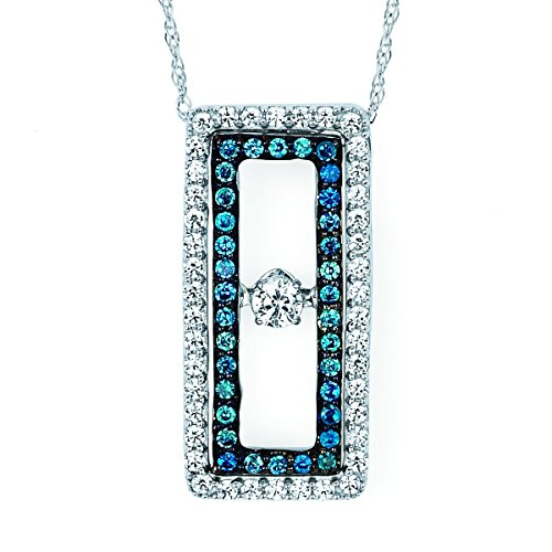 Brilliance in Motion 14K White Gold 1/2 c.t. Blue and White Diamond Rectangle Pendant Necklace, 18
