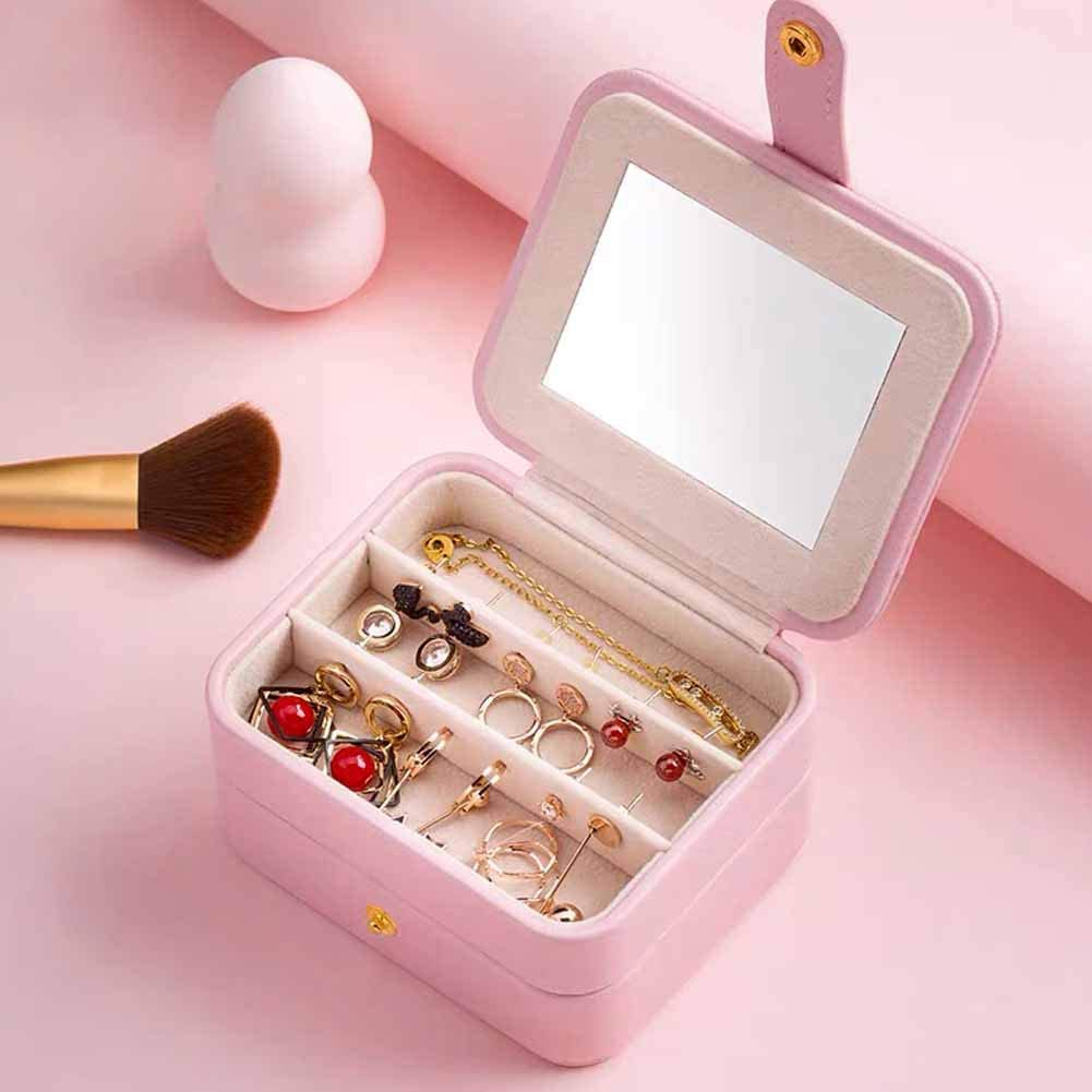 Light Blue Gifts for Girls Women Aijoso Small Jewelry Box Travel Mini Organizer Double Layer Portable Jewelry Display Storage Case for Necklaces Bracelets Earrings Rings