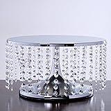 Efavormart Silver Breathtaking Crystal Pendants Metal Chandelier Wedding Birthday Party Dessert Cake Display Stand - 7.5