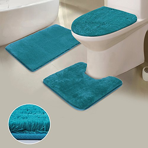 Uphome Shaggy 3-Piece Bath Rug Set, Non Slip Microfiber Soft Tub- Shower Mat Contour Rug Toilet Lid Tank Cover Combo Great Absorbency Machine Washable, Solid Turquoise