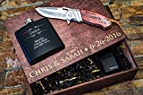 Personalized Gift Baskets for Men – Engraved Pocket Knife, Flask & Lighter + Gift Boxes with Lids – Groomsmen Gifts Box Set for Men