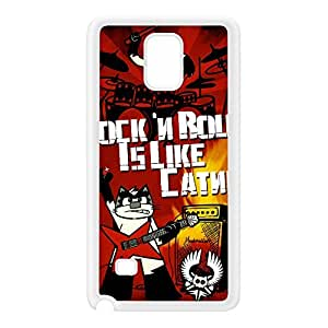 Fury Felines Rock n Roll White Silicon Rubber Case for Galaxy Note 4 by Furry Feline Creatives + FREE Crystal Clear Screen Protector