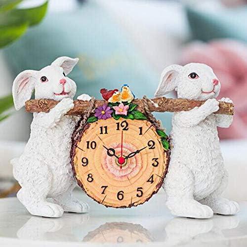 KUQIQI 時計、小さな時計、ヨーロッパのベッドサイド時計、スタイリッシュな時計、リビングルームのベッドルーム時計、サイレントテーブルトップ (Size : Bear)
