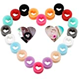 IPINK-20Pcs Heart Soft Flexible Silicone Ear Plugs Double Flared Expander Flesh Tunnels (10 Pairs of 00G(10mm))