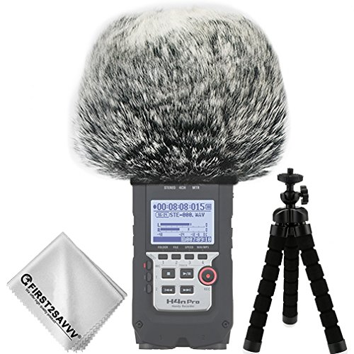 First2savvv Outdoor Portable Digital Recorders Furry Microphone Mic Windscreen Wind Muff for Zoom H4n Pro . H4n pro+ + mini tripod + Suede cleaning cloth TM-DM-H4NPro-A01TZ3