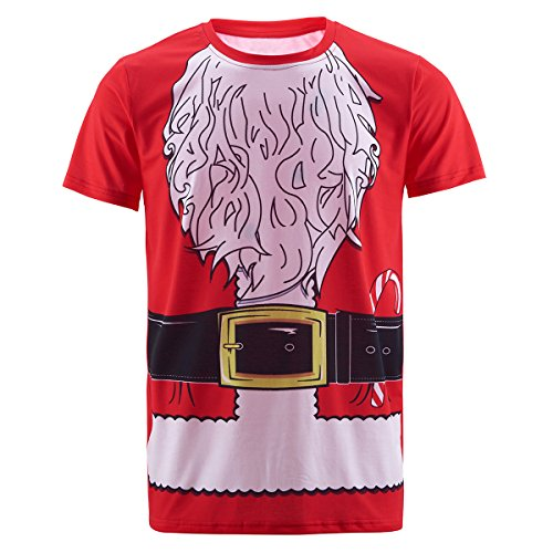 Funny World Men's Santa Claus Costume T-Shirts (XL) (Funny Santa Costumes)