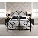 FLORENCE DOUBLE BLACK METAL BED FRAME WITH CRYSTAL FINIALS by Double Beds