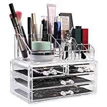 HOMFA Clear Acrylic Cosmetic Organizer Makeup Holder Display Jewelry Storage Case 4 Drawer for Lipstick Liner Brush Holder