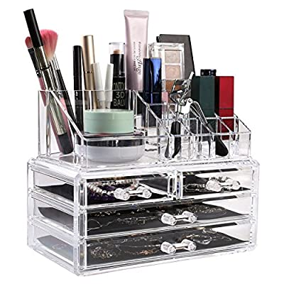 HOMFA Clear Acrylic Cosmetic Organizer Makeup Holder Display Jewelry Storage Case 4 Drawer for Lipstick Liner Brush Holder - ACRYLIC COSMETIC & MAKEUP STORAGE CASE:Drawers for hair clips and blushers, grid on the top for nail polish, lipsticks, etc,perfectly organize all your makeup and cosmetics into a dazzling personalized beauty counter. HIGH QUALITY MATERIAL:This Acrylic Makeup Organizer is made from strong high grade molded acrylic, slide out smoothly ,built to withstand frequent daily use. 4 DRAWERS: This makeup organizer case features 4 drawers for you to separate and properly organize all of your belongings. For extra convenience, each of the drawers has a special soft black mesh padding, which is especially great for keeping your jewelry in place so that chains and the like do not get tangled. - organizers, bathroom-accessories, bathroom - 51bNnXpQxqL. SS400  -