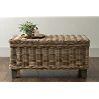 East at Main Hayward Brown Rectangular Rattan Coffee Table, (37x20x18)