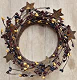 Colonial Mix Pip Ring Wreath W/ Rusty Stars Navy Burgundy Mustard Berries Country Primitive Floral Décor