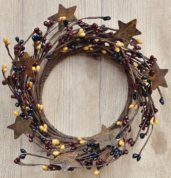 Colonial Mix Pip Ring Wreath W/ Rusty Stars Navy Burgundy Mustard Berries Country Primitive Floral (Primitive Berry)