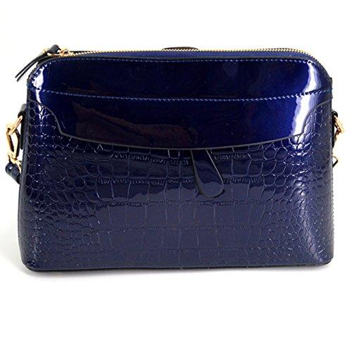 Cross Patent Pattern HAUTE LA Wine Blue body Handbag Leather Bag Bag Alligator Clutch Red Zipper Shiny Shoulder qTfCW8