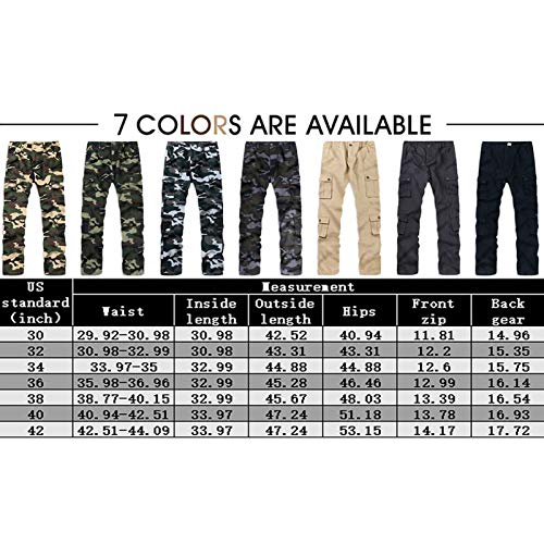 BOJIN Men's Cargo Pants Casual Military Army Camo Regular Fit Cotton Combat Camouflage Work with Pockets