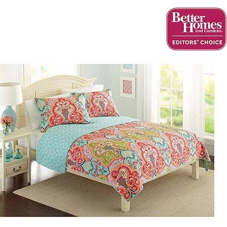 Better Homes and Gardens Quilt Collection, Jeweled Damask Fulll/Queen (Full/Queen, Multicolor)