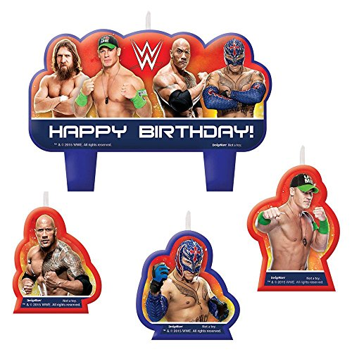Amscan Grand Slammin' WWE Birthday Party Molded Candle Set Cake Decoration (4 Pack), Assorted Size, Multicolor ()