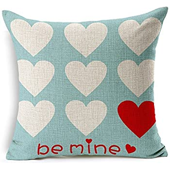 Love Hearts Be Mine Home Decor Throw Pillow Case Cushion Cover 18 x 18 Inch Cotton Linen(Valentine's Day Gift)