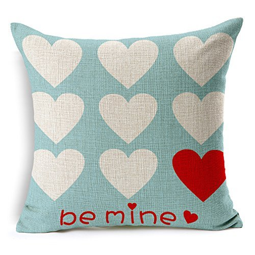 4TH Emotion Valentine's Day Throw Pillow Case Cushion Cover Love Hearts Be Mine Home Decor 18 x 18 Inch Cotton Linen for Sofa Couch