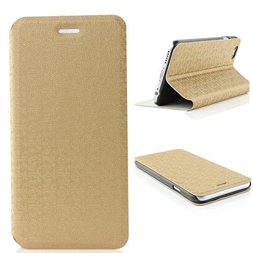 Urcover® iPhone 6 Plus 6S Plus Hülle, Schutzhülle mit [ Stand-Funktion ] Flip Case Cover Etui Bookstyle Wallet für Apple iPhone 6 Plus / 6S Plus Farbe: Champagner Gold