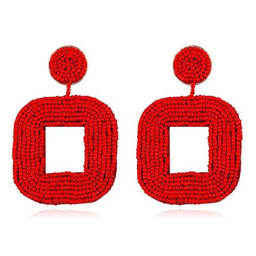 (Olisaglan Red Statement Earrings for Women - Bohemian Wire Wrapped Beaded Square Hoop Dangle Statement Earrings)