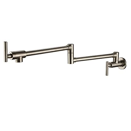 PHASAT Double Handle Wall Mounted Pot Filler Faucet Brushed Nickel