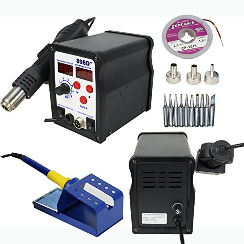 F2C Digital Hot Air and Hot Iron Power Supply Solder Station Welder Tool 898D Free Tips