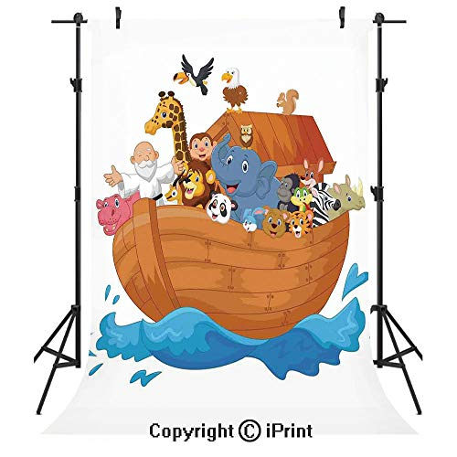 Noahs Ark Photography Backdrops,Noahs Ark Cartoon Style Mammals Smiling Transport in Only Ship Artwork Print,Birthday Party Seamless Photo Studio Booth Background Banner 5x7ft,Multicolor (Noahs Ark Back Drop)