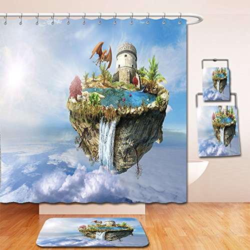 Nalahome Bath Suit: Showercurtain Bathrug Bathtowel Handtowel Fantasy House Decor Island With Dragon Castle Tower Waterfall And Flipped Mountain Is Flying In Space Green - Macy Water Tower