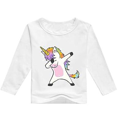 70cb3379ac668 T-Shirt Licorne Fille Enfant Manches Longues Automne Garçon Pas Cher Mode  Manche Raglan Printemps