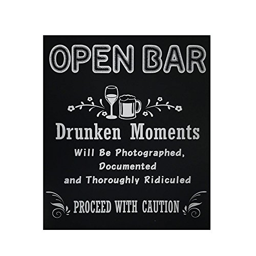 JennyGems - Open Bar - Drunken Moments Will Be Photographed Documented and Thoroughly Ridiculed Proceed with Caution - Wedding Ceremony and Reception Stand Up Sign - Birthday Anniversary Party