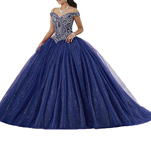 Graceprom Women's Puffy Beaded Crystal Quinceanera Dresses Ball Gown Sweet 16 Dresses 8 ()